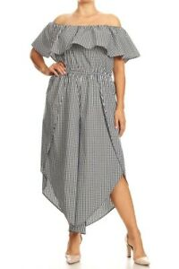 DISCOUNT Women Plus Size Jumpsuit Black and White Gingham Print.