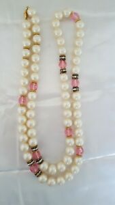 Vintage Signed MONET Faux Pearls amp; Pink Glass Accents Beads Necklace 34quot; $8.95