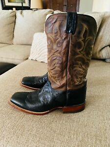 JUSTIN MEN#x27;S SMOOTH OSTRICH REMUDA WESTERN COWBOY BOOTS SQUARE TOE Size 13 EE
