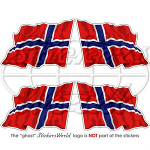 NORWAY Norwegian Waving Flag 2 Bumper Helmet Stickers