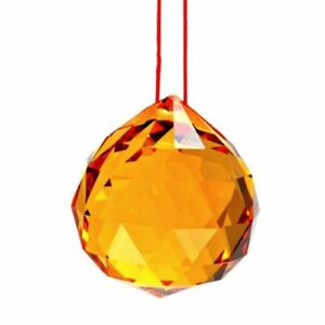 Chinese Feng Shui Amber Hanging Crystal Ball Prisms Sun Catcher 12371 S-3302