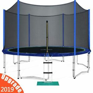 New Zupapa 14FT Round Trampoline With Safety Pad Inside Enclosure Net Ladder