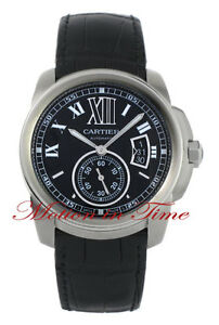 CARTIER CALIBRE AUTOMATIC LARGE STAINLESS STEEL BLACK ON STRAP REF # W7100014