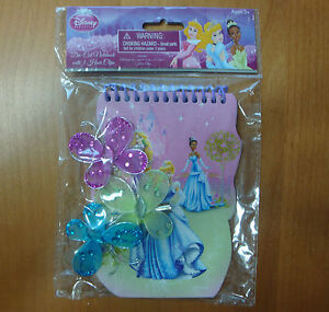 GIRLS DISNEY PARTY FAVORS  PRINCESS NOTEBOOK WITH 3 HAIR CLIPS   NEW