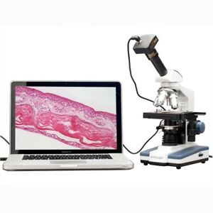 AmScope 2000X Double Layer Stage LED Monocular Digital Compound Microscope w 3MP