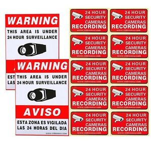 10xVideo Home CCTV Surveillance Security Camera Stickers Warning Decal Signs WR8