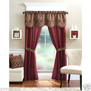 Unique 5 Piece Complete Window Curtain Set With Tiebacks Assorted Colors