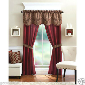 Unique 5 Piece Complete Window Curtain Set With Tiebacks Assorted Colors $15.99