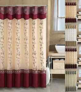 VCNY Daphne Embroidered Sheer amp; Taffeta Fabric Shower Curtain Assorted Colors
