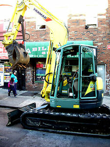 USED Yanmar vio 75 mini excavator cab 15.5 dig depth 36 bucket and claw