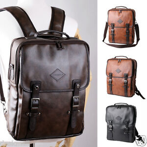 Three-way Backpack Messenger Tote Bags Unisex Synthetic leather 15 Laptop Sleeve