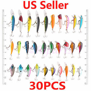 USA Lot 30 PCS Fishing Lures Crankbaits Hooks Minnow Baits Tackle