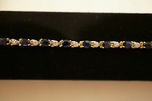 SAPPHIRE AND DIAMOND BRACELET IN 14K AND WHITE GOLD