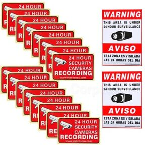 16x CCTV Security Camera Video Sticker Warning Decal Signs Home Surveillance 3A4