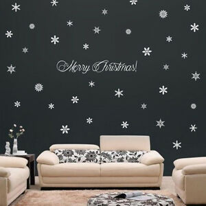 73 Snowflakes & Merry Christmas! Holiday Wall Window Art Vinyl Decal Sticker