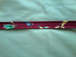 quot;Fly Fishingquot; Cloth Hat Bands 7 8quot; x 28quot; Red Fly Print Lot of 3 NEW