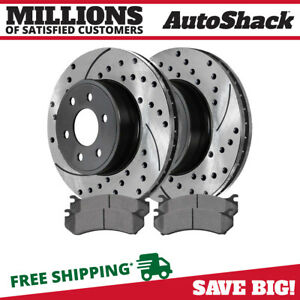 Front (2) Drilled Slotted Brake Rotors (4) Ceramic Pad For 00-06 Chevrolet Tahoe