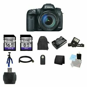 Canon EOS 7D Mark II DSLR Camera w18-135mm Lens 24GB Full Kit