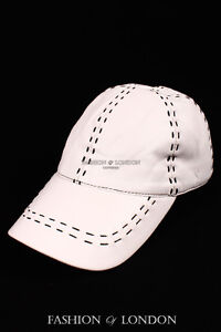 White with Black Stitch BASEBALL CAP Real Soft Lambskin 100% Leather Hip-Hop