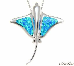 925 Sterling Silver Rhodium Hawaiian Stingray Fish Blue Opal Slider Pendant