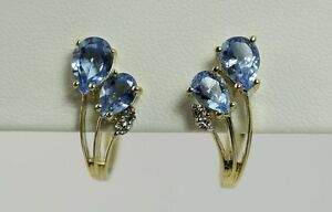 3.0 CTW BLUE TOPAZ Earrings with 0.08 CTW DIAMOND accents in 14K YELLOW GOLD