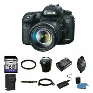 Canon EOS 7D Mark II DSLR Camera w18-135mm Lens 16GB Complete Kit