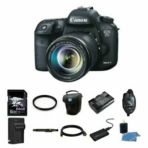 Canon EOS 7D Mark II 20.2MP Digital SLR Camera w18-135mm Lens 64GB Complete Kit