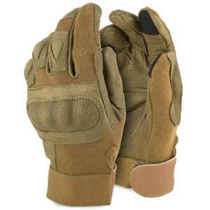 Rhyno Military Combat Tactical Touchscreen Hard Knuckle Gloves Tan with Kevlar