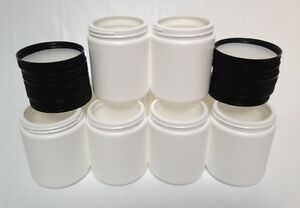 (Lot of 10) 20oz Empty HDPE White Plastic Jars with Lids & Sealers - NEW