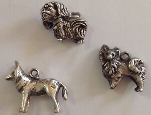 vintage style LOT OF 3 STERLING DOG CHARMS SHEPHERD SPANIEL GREAT PRICE $50.50