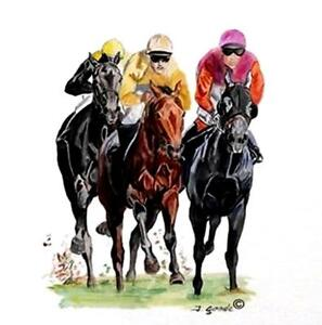 HORSE RACING SCENE shown on ONE 16 inch Square Fabric Panel to Sew $16.50