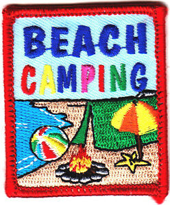 BEACH CAMPING Iron On Patch Trip Vacation Beach