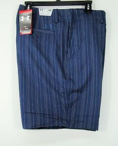 NWT $$ 69.95 Under Armour HeatGear Golf Shorts Swift Pin Stripe Indigo # 7970