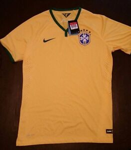NWT NIKE DRI-FIT BRAZIL FOOTBALL CONFEDERATIO SHORT SLEEVE SOCCER JERSEY MENS L