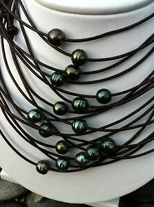 Real Tahitian Black Ocean Pearl Natural Leather NecklaceChoker Surf Jewelry