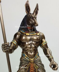 Egyptian Anubis Jackal W Cobra Scepter Statue Sculpture Antique Bronze Finish