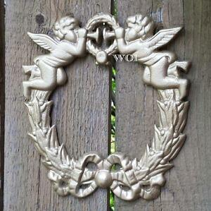 Cast Iron Golden Wreath w Ribbon Baby Angels Blowing Trumpet Divine Wall Plaque