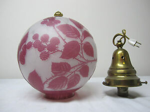 VERY RARE ANTIQUE CAMEO CUT HALL LAMP BLACKBERRY CANE BY STEVENS AND WILLIAMS