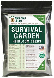 EMERGENCY SURVIVAL GARDEN VEGETABLE SEED NON-GMO HEIRLOOM SEED BANK PACK SET MRE
