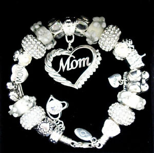 Authentic Pandora Bracelet Silver with MOM White Family European Charms NIB