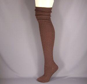 Brown cuffed cable knit long tall boot over the knee under tall boot thigh socks $13.99
