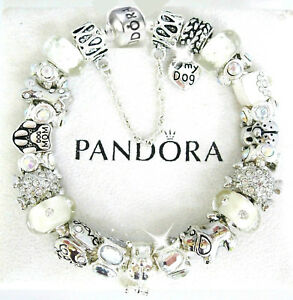 Authentic Pandora Silver Bracelet Dog Crystal Mom and European Charms New