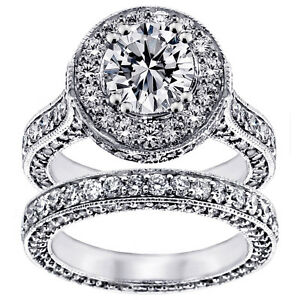 5.30 CT TW Halo Diamond Designer Engagement Bridal Set in Platinum (G-H SI)