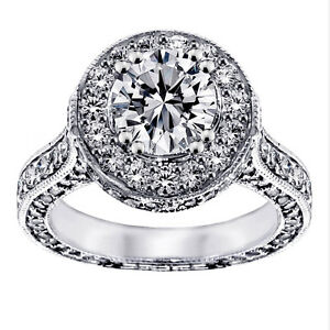 3.80 CT TW Halo Diamond Designer Engagement Ring in 18k White Gold G SI1 NEW!
