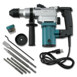 New 1quot; Electric Rotary ROTO Hammer Drill SDS Concrete Chisel Kit w Bits NEW
