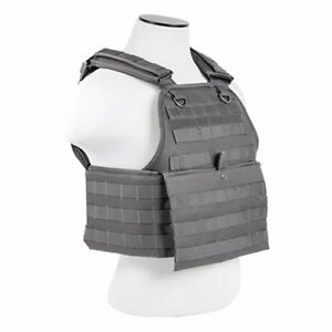 NcStar GRAY Police Military Tactical MOLLE  PALs Adj Plate Carrier Vest
