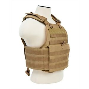 NcStar TAN Police Military Tactical MOLLE  PALs Adj Plate Carrier Vest