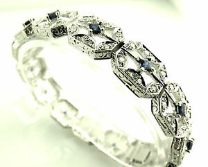 DIAMOND AND SAPPHIRE SOLID 18KT WHITE GOLD TENNIS BRACELET $3900.00 RETAIL