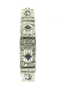 DIAMOND AND SAPPHIRE SOLID 18KT WHITE GOLD TENNIS BRACELET $4200.00 RETAIL