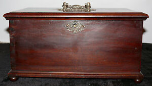 ANTIQUE SEWING BOX WOODEN WITH TWO SIDE DRAWERS LATE 1800#x27;S $480.00